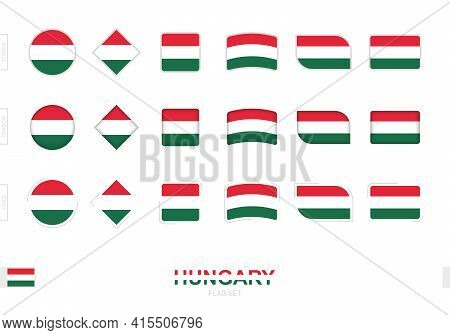 Hungary Flag Set, Simple Flags Of Hungary With Three Different Effects. Vector Illustration.