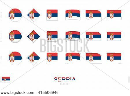 Serbia Flag Set, Simple Flags Of Serbia With Three Different Effects. Vector Illustration.
