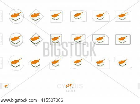 Cyprus Flag Set, Simple Flags Of Cyprus With Three Different Effects. Vector Illustration.