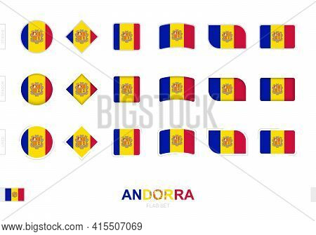 Andorra Flag Set, Simple Flags Of Andorra With Three Different Effects. Vector Illustration.