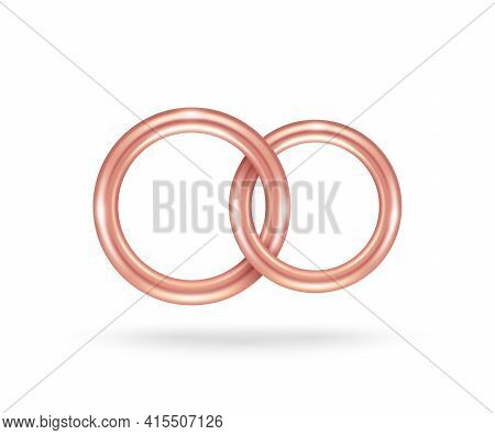 Two Connected Rose Gold Engagement Rings Isolated On White Background. Vector Illustration. Golden J