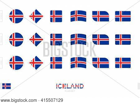 Iceland Flag Set, Simple Flags Of Iceland With Three Different Effects. Vector Illustration.