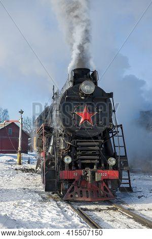 Sortavala, Russia - March 10, 2021: Freight Main Soviet Steam Locomotive Lv-0522 Close-up. Front Vie