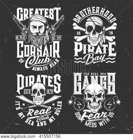 Tshirt Prints With Pirate Skull And Face In Bandana And Crossed Sabers And Bones. Vector Mascots For