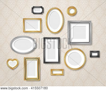 Set Of Vintage 3d Photo Frames On Retro Wallpaper. Vector Illustration. Realistic Gold, Silver And B