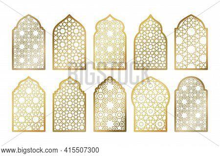 Set Of Gold Ornate Arab Windows Isolated On White. Vector Illustration. Ramadan Kareem Design Elemen