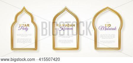 Set Of Gold 3d Arab Windows Frame Silhouettes. Vector Illustration. Ramadan Kareem Labels For Invita