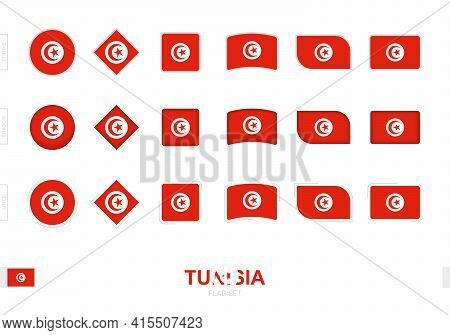 Tunisia Flag Set, Simple Flags Of Tunisia With Three Different Effects. Vector Illustration.