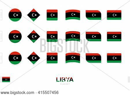 Libya Flag Set, Simple Flags Of Libya With Three Different Effects. Vector Illustration.