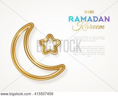 Ramadan Kareem Concept Banner Template. Islamic 3d Gold Crescent And Star Silhouette. Vector Illustr