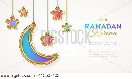Ramadan Kareem Islamic Crescent And Star Hanging On White Background. Vector Illustration. Place For
