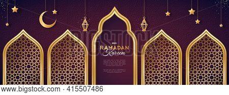 Ramadan Kareem Concept Banner With Gold 3d Frame, Arab Window On Dark Background With Beautiful Arab