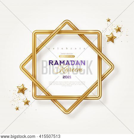 Ramadan Kareem Concept Poster, Typography Template. Eight Point Star Shape Frame, 3d Gold Stars And