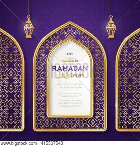Ramadan Kareem Concept Poster, Gold 3d Frame Arab Window And Hanging Lanterns Lamp On Night Sky Back
