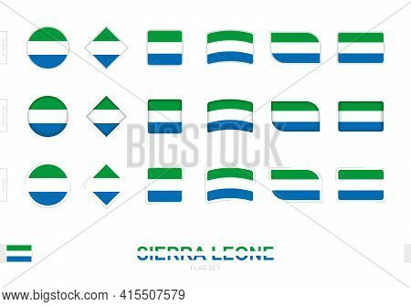 Sierra Leone Flag Set, Simple Flags Of Sierra Leone With Three Different Effects. Vector Illustratio