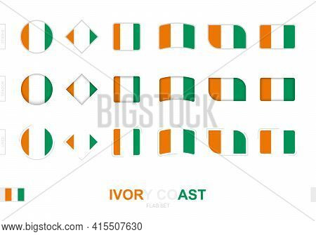 Ivory Coast Flag Set, Simple Flags Of Ivory Coast With Three Different Effects. Vector Illustration.