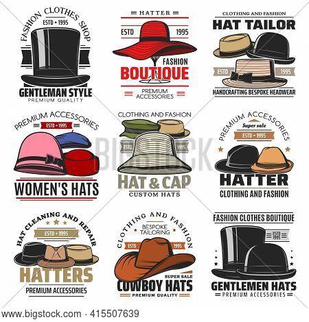 Hats Vector Icons Gentleman Top Cylinder, Floppy, Bowler And Pork Pie Hat, Cloche, Beret Or Homburg