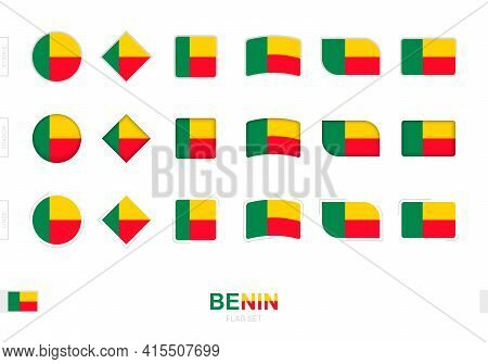 Benin Flag Set, Simple Flags Of Benin With Three Different Effects. Vector Illustration.