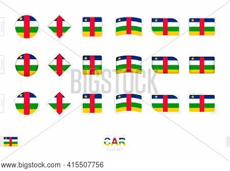 Central African Republic Flag Set, Simple Flags Of Central African Republic With Three Different Eff