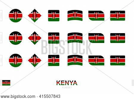 Kenya Flag Set, Simple Flags Of Kenya With Three Different Effects. Vector Illustration.