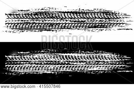Offroad Tyre Print And Grunge Spot, Vector Monochrome Tire Trace. Rally, Motocross Dirty Tire Patter