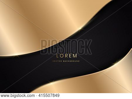Abstract Golden Curves On Black Background With Gold Line Curve Luxury Style. Vector Illustration