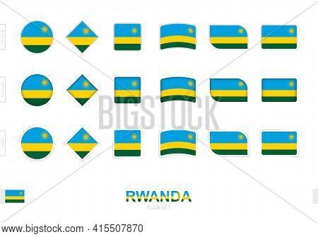 Rwanda Flag Set, Simple Flags Of Rwanda With Three Different Effects. Vector Illustration.