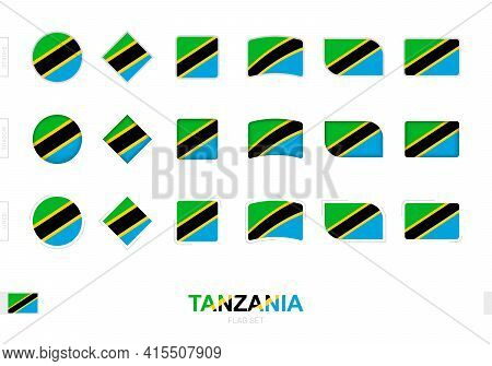 Tanzania Flag Set, Simple Flags Of Tanzania With Three Different Effects. Vector Illustration.