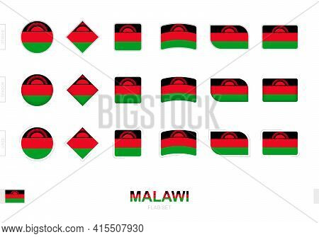 Malawi Flag Set, Simple Flags Of Malawi With Three Different Effects. Vector Illustration.