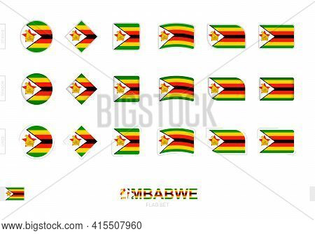 Zimbabwe Flag Set, Simple Flags Of Zimbabwe With Three Different Effects. Vector Illustration.