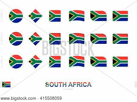 South Africa Flag Set, Simple Flags Of South Africa With Three Different Effects. Vector Illustratio