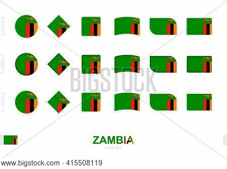 Zambia Flag Set, Simple Flags Of Zambia With Three Different Effects. Vector Illustration.