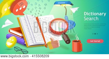 3d Isometric Flat Vector Conceptual Illustration Of Dictionary Search.