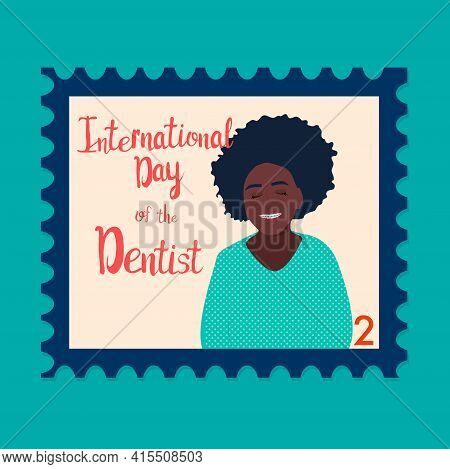 Orthodontic Themed Postage Stamp.international Day Of The Dentist. Afro-american Girl With Braces Or