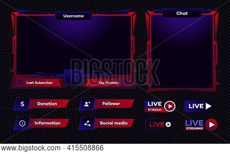 Streaming Screen Panel Overlay Game Template. Live Video, Online Stream Futuristic Technology Style.