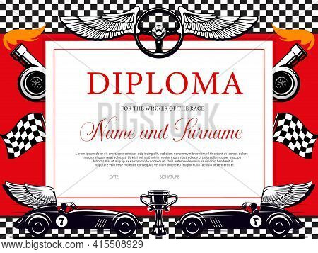 Winner Of The Race Diploma Certificate Vector Template With Racing Cars And Flags. Motor Sport Achie