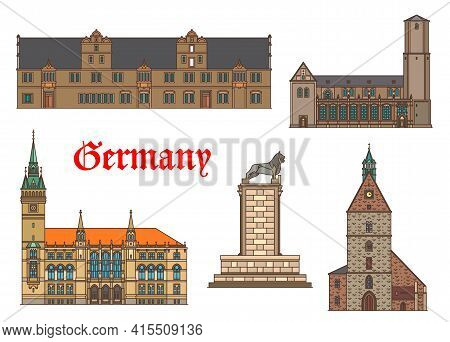 Germany Landmarks Architecture Houses And Cathedral Churches In Braunschweig, German Saxony Building