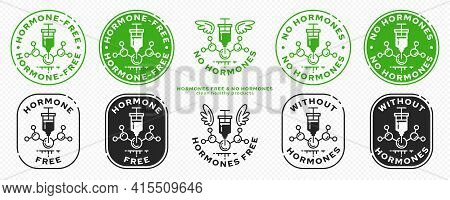 Conceptual Stamps For Product Packaging. Labeling - Hormone Free. A Syringe With A Hormonal Drug And