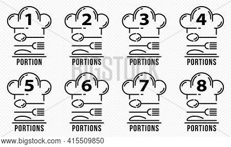 Concept For Product Packaging Or Menu. Labeling - No Number Of Servings Per Dish. Cutlery With A Che