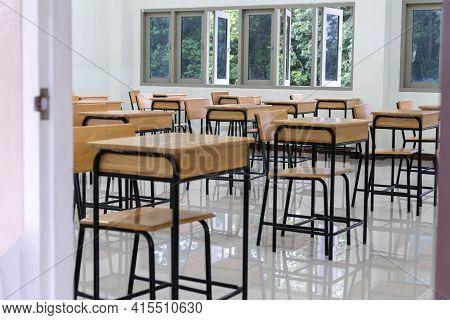 School Empty Classroom No Childrens When Covid-19 Disease Outbreak And Closed Quarantine, No Pupils