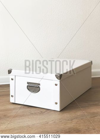 White Folding Storage Box Made Of Durable Cardboard For Storing Papers, Documents, Various Items