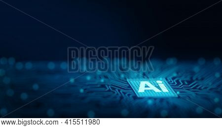 Ai Chipset On Computer Circuit Board. Artificial Intelligence, Data Mining, And Deep Learning Modern