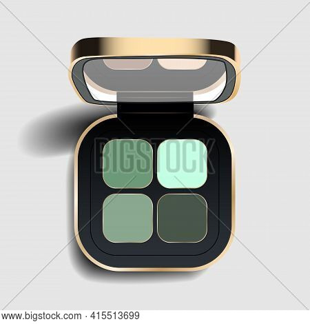 Realistic Eyeshadow Palette. Eyeshadow Package For Nude Makeup Green Tones. Eye Beauty Cosmetic Prod