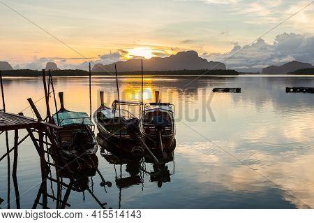Ban Sam Chong Tai And Colorful Sunrises That Emerges Behind The Giant Limestone Mountains, Phang-nga