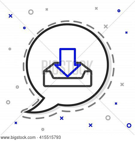 Line Download Inbox Icon Isolated On White Background. Colorful Outline Concept. Vector Illustration