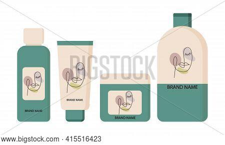 Cosmetic Fashion Logo Design On Different Cosmetics Products. Organic Cosmetics. Feminine Illustrati