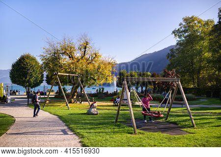October 8, 2018.salzkammergut, Austria. City Center Park In The Salzkammergut Alps
