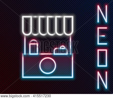 Glowing Neon Line Street Stall With Awning And Wooden Rack Icon Isolated On Black Background. Kiosk