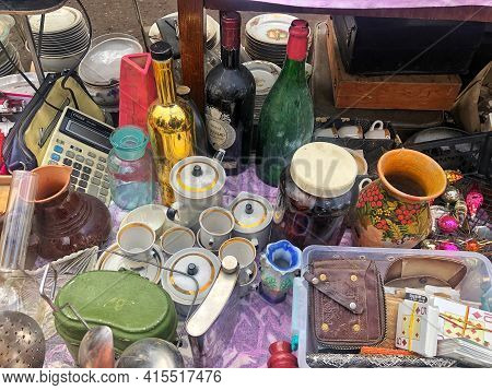March 27, 2021, Ukraine, Kharkov. Swap Meet, Sale Of Old Things. Soviet Dishes And Old Things. Open-