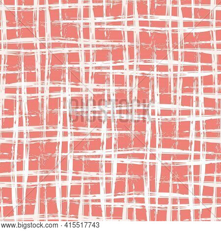 Vector Burlap Effect Seamless Pattern Background. Red White Coarse Hessian Fibre Texture Fabric Styl